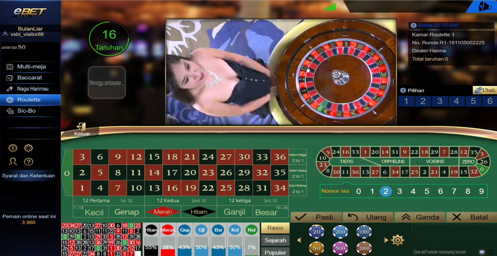 Panduan Permainan Live Casino Roullete Visitorbet